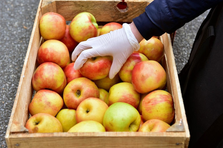 Apples were one of the items offered during a bi-monthly produce run at Seymour Johnson Air Force Base, N.C. on March 22, 2020.