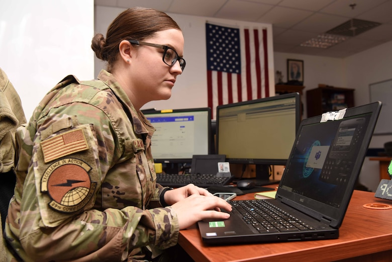 U.S. Air Force Senior Airman Kaitlyn Schramek, 39th Communications Squadron voice systems technician, troubleshoots a voice communicator app, May 5, 2020, at Incirlik Air Base, Turkey. Voice systems technicians ensure voice communications are accessible at work and from home. (U.S. Air Force photo by Tech. Sgt. Jim Araos)