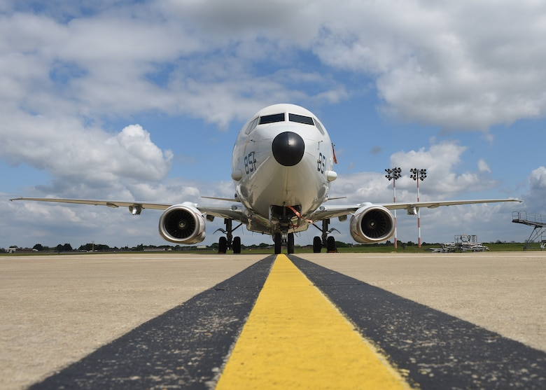A U.S. Navy P-8A Poseidon maritime patrol and reconnaissance aircraft assigned to Patrol Squadron (VP-4) sits on the flight line at RAF Mildenhall May 2, 2020. The MPRA was at RAF Mildenhall to participate in operations and exercises with other U.S. assets and regional allies and partners. Patrol Squadron (VP-4) is forward-deployed to the U.S. 6th Fleet area of operations and is assigned to commander, Task Force 67, responsible for tactical control of deployed MPRA squadrons throughout Europe and Africa. (U. S. Air Force photo by Karen Abeyasekere)
