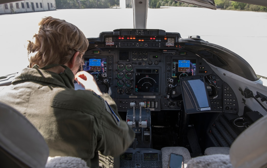 U.S. Air Force Capt. Taylor Stephens, 76th Airlift Squadron readiness flight commander, performs a preflight inspection at Ramstein Air Base, Germany, May 8, 2020.