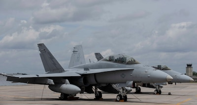 VMFA-251 F18 staged on flightline