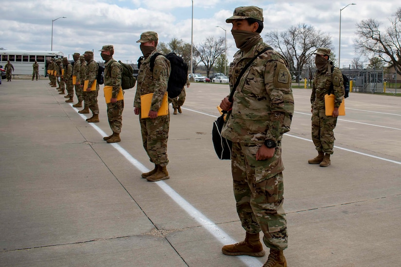Soldiers arriving at their duty station.