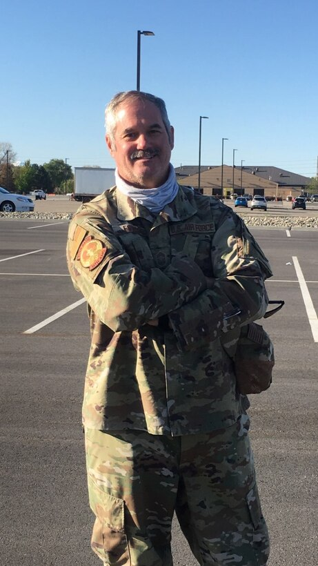 Chief Master Sgt. Craig Fowler, superintendent for the 419th Aircraft Maintenance Squadron, poses for a photo after arriving back in Utah from a six-month deployment to the Middle East.