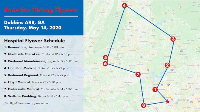 A map showing the approximate locations for the flyover honoring Georgia health care workers, first responders and essential workers for their efforts during the ongoing coronavirus pandemic. The C-130 flyover will begin in Marietta, before going to Kennesaw, Canton, Jasper, Dalton, Rome, Cartersville, Hiram. (U.S. Air Force graphic/Andrew Park)