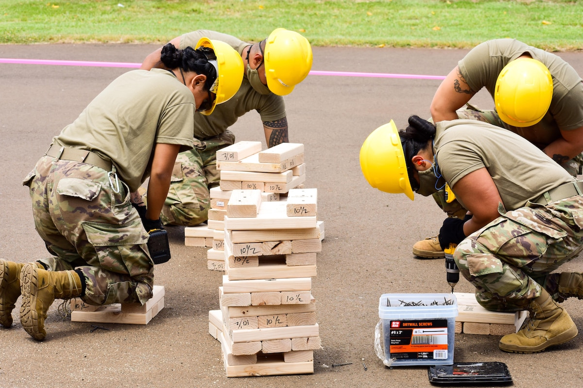 Soldiers wearing protective gear build platforms.