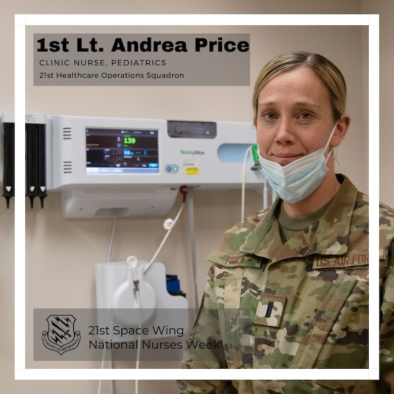 PETERSON AIR FORCE BASE, Colo. – 1st Lt. Andrea Price, 21st Medical Group pediatric nurse, was inspired by her parents who are also medical professionals, and became a commissioned nurse last year after serving 15 years as an enlisted Air Force independent duty medical technician. Price comes from a generation of family members in the medical career field. Her mother was a nurse and her father was a lab technician. Price is from Weatherford, Oklahoma. (U.S. Air Force graphic by Staff Sgt. Alexandra M. Longfellow)