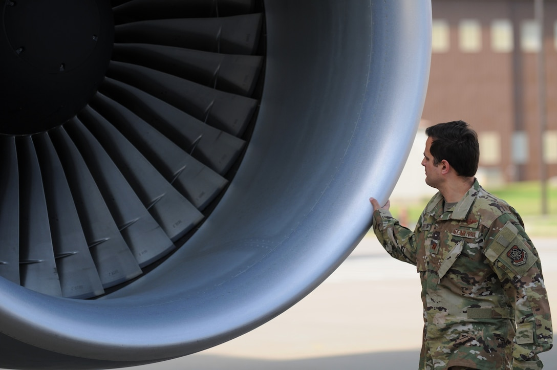 Maj. Tony Gorry, 344th Air Refueling Squadron chief of group training, performs a preflight inspection on a KC-46A Pegasus April 21, 2020, at McConnell Air Force Base, Kansas. Preflight inspections require aircrews to perform visual checks of controls and instruments prior to starting engines. Aircrew prepared to execute the Air Force's first night vision operational training mission on the KC-46A Pegasus. (U.S. Air Force photo by Master Sgt. Jerry Fleshman)