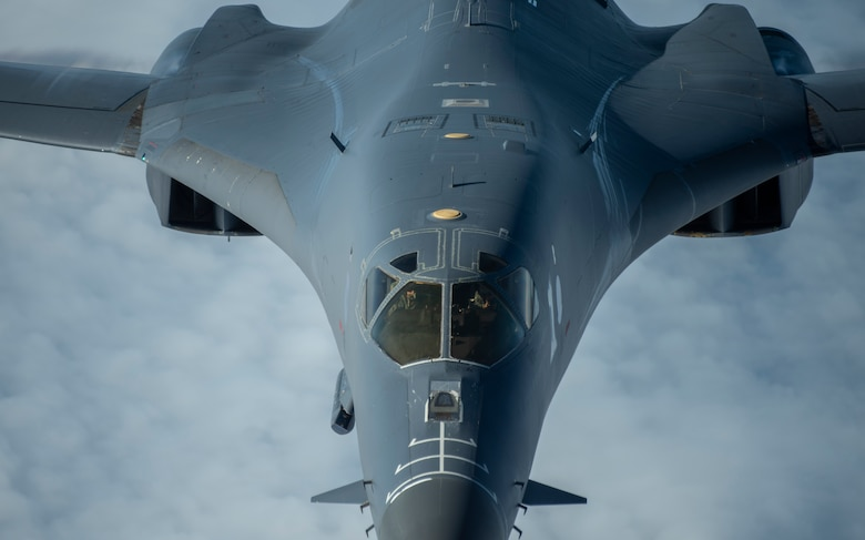A 9th Expeditionary Bomb Squadron B-1B Lancer conducts a training mission in the vicinity of Japan where they integrated with Japan Air Self Defense Force assets, May 12, 2020. The 9th EBS is deployed to Andersen Air Force Base, Guam, as part of a Bomber Task Force and is supporting Pacific Air Forces' strategic deterrence missions and  commitment to the security and stability of the Indo-Pacific region. (U.S. Air Force photo by Senior Airman River Bruce)