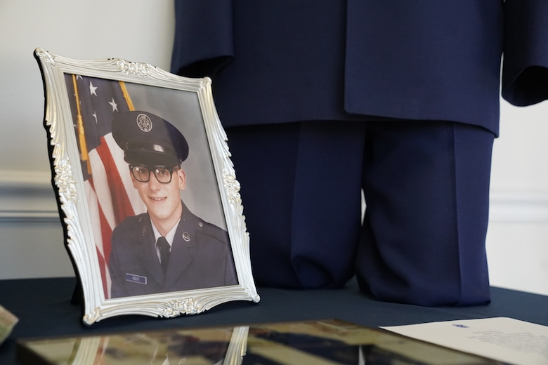 A picture of Chief Master Sgt. David Pizzuto, 81st Training Wing command chief, is displayed inside of the Levitow Training Support Facility at Keesler Air Force Base, Mississippi, May 6, 2020. Pizzuto, who is slated to retire this month, has served for 37 years and has worn every uniform the Air Force has ever known. (U.S. Air Force photo by Airman 1st Class Spencer Tobler)