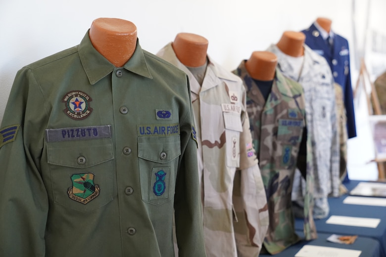 Uniforms owned by Chief Master Sgt. David Pizzuto, 81st Training Wing command chief, are displayed inside of the Levitow Training Support Facility at Keesler Air Force Base, Mississippi, May 6, 2020. Pizzuto, who is slated to retire this month, has served for 37 years and has worn every uniform the Air Force has ever known. (U.S. Air Force photo by Airman 1st Class Spencer Tobler)