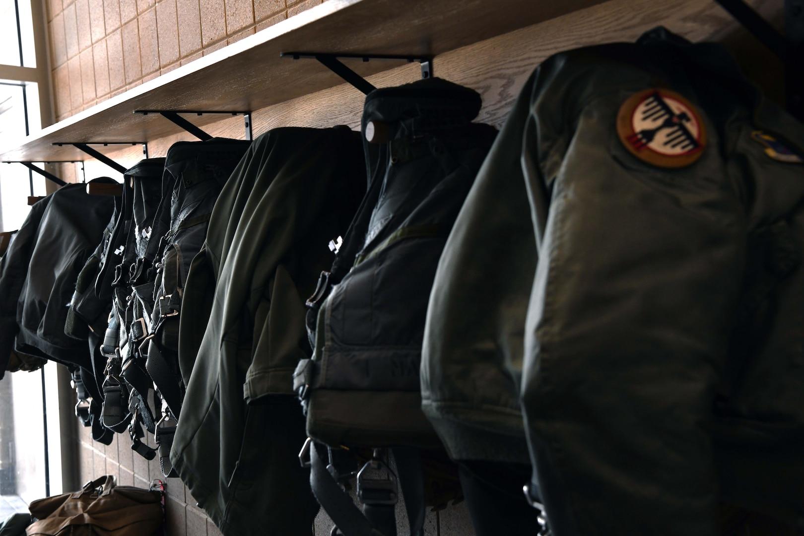 Equipment hangs on pegs