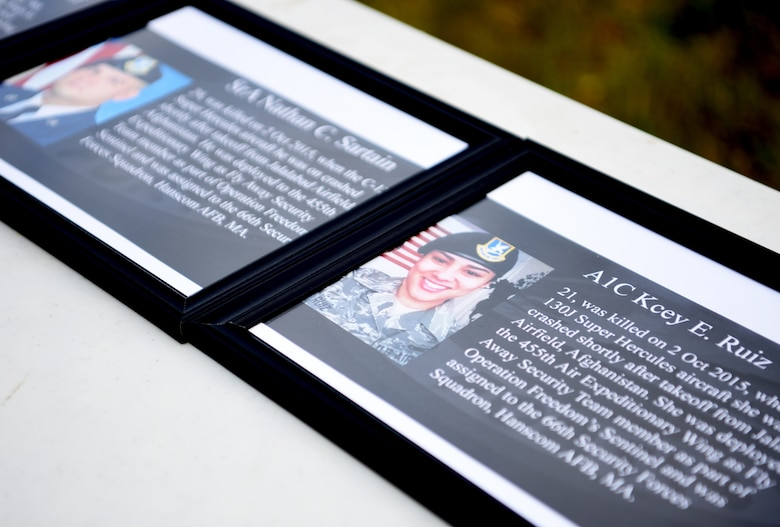 Photos of U.S. Air Force Security Forces Airmen who've died in the line of duty are displayed during the 100th SFS Memorial Ruck March at RAF Mildenhall, England, May 13, 2020. The ruck march took place during National Police Week, which is an observance in the United States that pays tribute to local, state and federal officers who've died or who've been disabled in the line of duty. (U.S. Air Force photo by Senior Airman Brandon Esau)