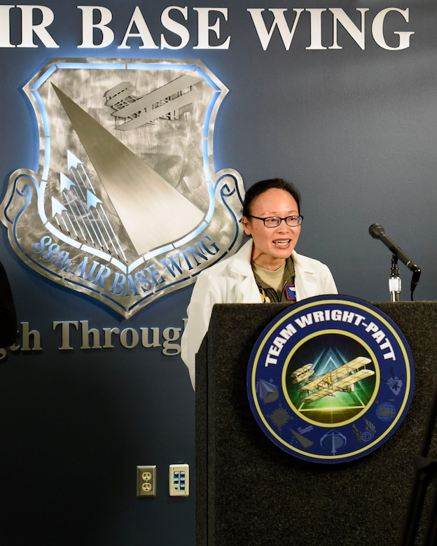 Col. Hui Ling Li, WPAFB COVID-19 incident commander and 88th Medical Group chief of Aerospace Medicine speaks during a Facebook Townhall meeting at Wright-Patterson Air Force Base, Ohio, March 18, 2020.  (U.S. Air Force photo by Ty Greenlees)