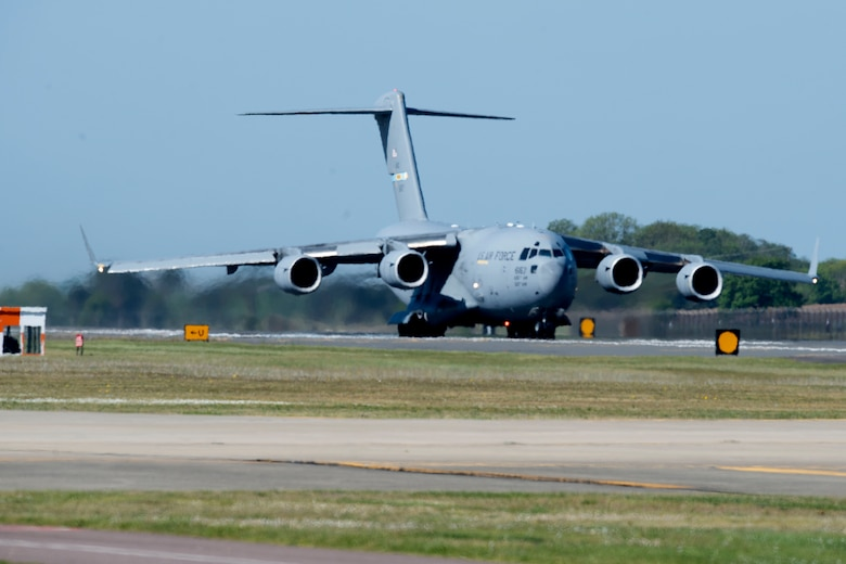 A C-17 Globemaster III assigned to Dover Air Force Base, Delaware, prepares to take off from Royal Air Force Lakenheath, England, May 6, 2020. The aircraft was supporting a 48th Fighter Wing deployment in support of Operation Inherent Resolve. (U.S. Air Force photo by Senior Airman Christopher S. Sparks)