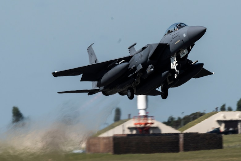 An F-15E Strike Eagle assigned to the 492nd Fighter Squadron takes off from Royal Air Force Lakenheath, England, May 6, 2020. F-15E Strike Eagles and Airmen from the 492nd FS and supporting units across the 48th Fighter Wing are currently deployed in support of Operation Inherent Resolve. (U.S. Air Force photo by Senior Airman Christopher S. Sparks)