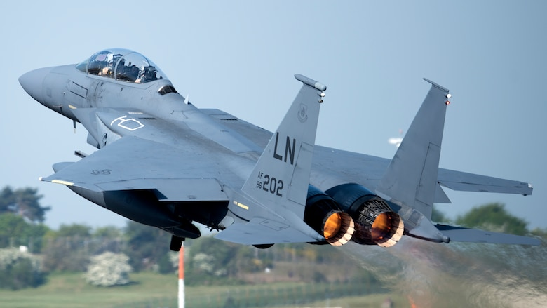 An F-15E Strike Eagle assigned to the 492nd Fighter Squadron takes off from Royal Air Force Lakenheath, England, May 7, 2020. F-15E Strike Eagles and Airmen from the 492nd FS and supporting units from across the 48th Fighter Wing are currently deployed to an undisclosed location in Southwest Asia. (U.S. Air Force photo by Airman 1st Class Jessi Monte)
