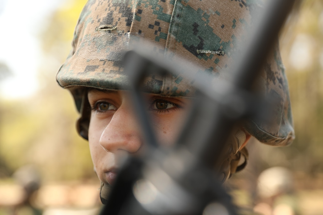 A recruit with Delta Company, 1st Recruit Training Battalion, prepares to perform his next series of techniques aboard Marine Corps Recruit Training Depot Parris Island, S.C., Mar. 14, 2020. The purpose of the Marine Corps Martial Arts Program is to execute unarmed and armed techniques to  use lethal and non-lethal force across a spectrum of violence.  (U.S. Marine Corps photos by Lance Cpl. Ryan Hageali)