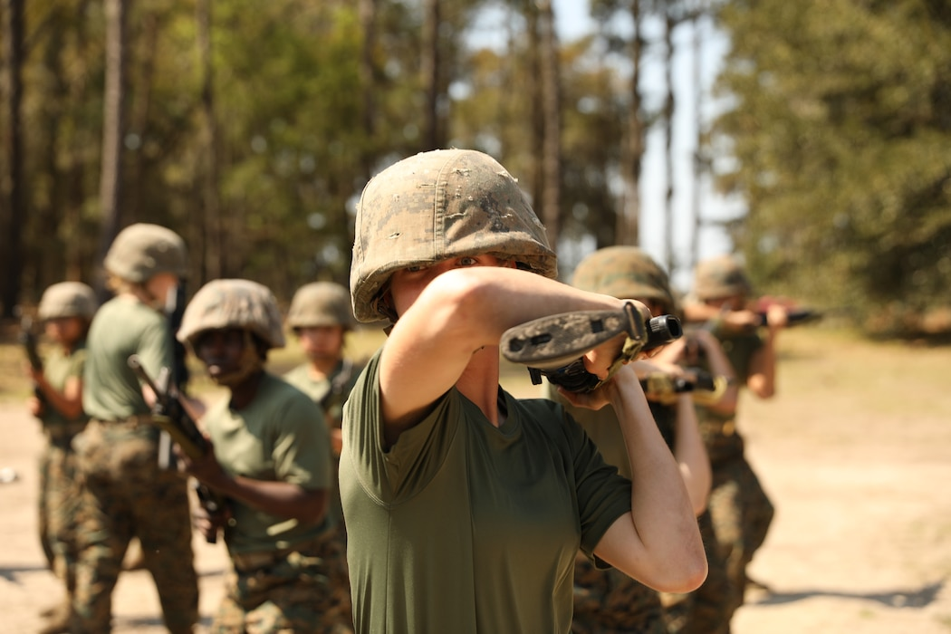 Recruits with Oscar Company, 4th Recruit Training Battalion, perform a horizontal buttstroke aboard Marine Corps Recruit Training Depot Parris Island, S.C., Mar. 14, 2020. The purpose of the Marine Corps Martial Arts Program is to execute unarmed and armed techniques to  use lethal and non-lethal force across a spectrum of violence.  (U.S. Marine Corps photos by Lance Cpl. Ryan Hageali)