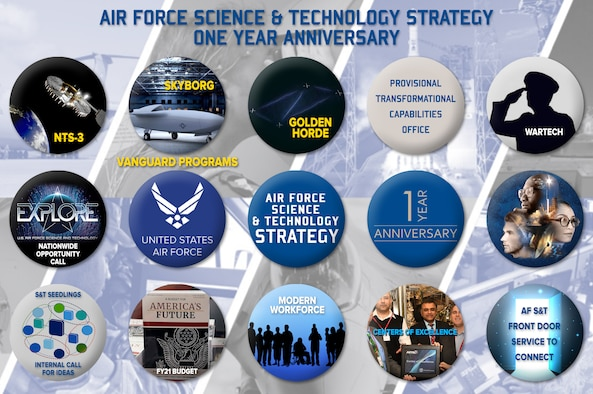 In the spring of 2019, the Air Force released the Air Force Science and Technology Strategy to secure continued technological advantage over rapidly developing state competitors in 2030 and beyond through future technology research and converting new technologies into transformational warfighting concepts. Over the course of the past year, the Air Force has made big strides in implementing key parts of the strategy. (U.S. Air Force illustration/Patrick Londergan)