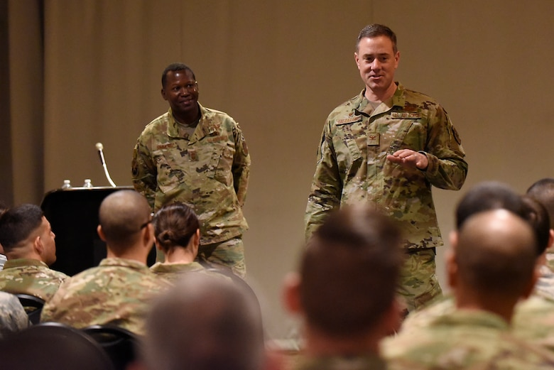 Col. Thomas Falzarano, 21st Space Wing commander, and 21st SW Command Chief, Chief Master Sgt. Jacob Simmons, spoke to the Airmen of Thule Air Base, Greenland during an all call July 19, 2019. At the end of the all call, the 21st SW leadership opened the floor up for questions from the Airmen. (U.S. Air Force photo by Staff Sgt. Alexandra M. Longfellow)