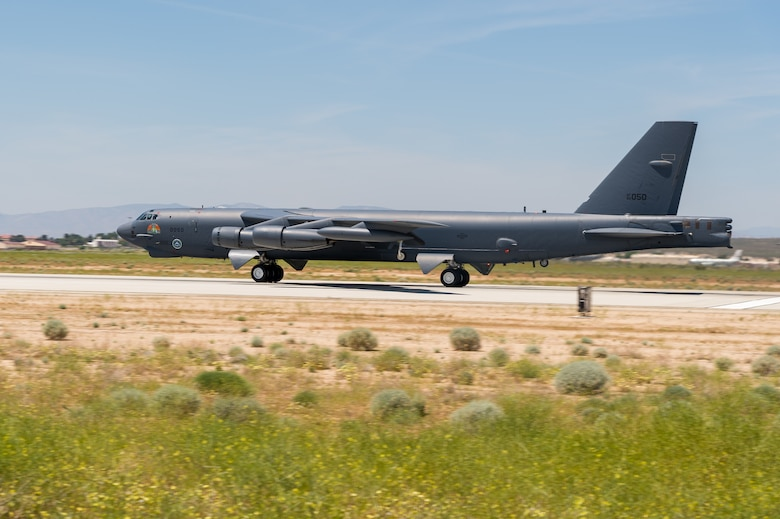 "A B-52 from Edwards Air Force Base, California, will conduct a flyover over the Antelope Valley Area or the ""Aerospace Valley"" March 14. (Air Force photo by Ethan ""Evac"" Wagner)"