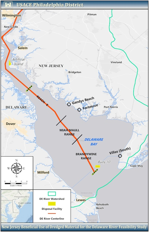 Map for New Jersey Beneficial Use of Dredged Material for the Delaware River Feasibility Study