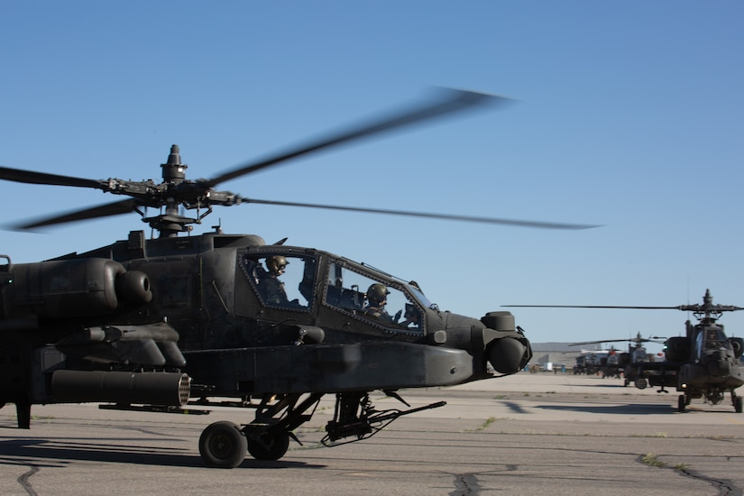 Soldiers assigned to the Utah National Guard's 1st Battalion, 211th Attack Reconnaissance Battalion, Aviation Regiment, depart the Army Aviation Support Facility, West Jordan, Utah, May 7, 2020.