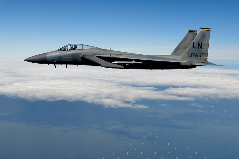 An F-15C Eagle assigned to the 493rd Fighter Squadron conducts aerial operations in support of exercise Point Blank 20-02 over the North Sea, May 12, 2020. The joint event, held quarterly between the Royal Air Force and U.S. Air Forces stationed in the United Kingdom was the first to be conducted amid the COVID-19 pandemic. (U.S. Air Force photo/ Master Sgt. Matthew Plew)