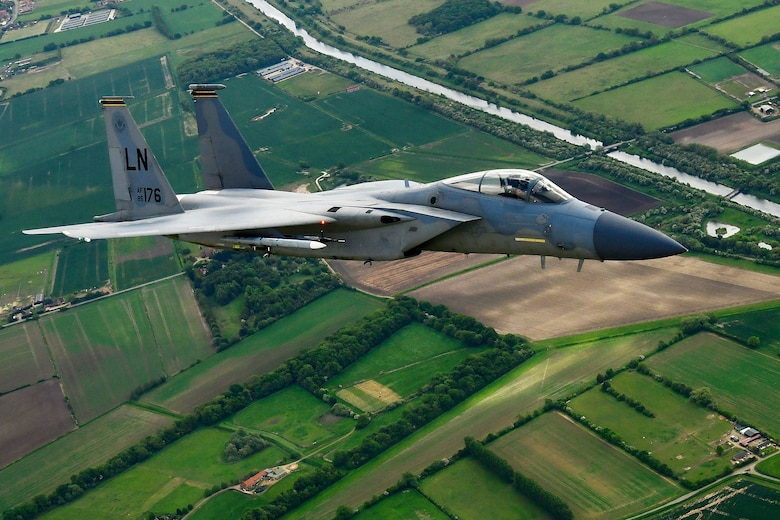 An F-15C Eagle assigned to the 493rd Fighter Squadron conducts aerial operations in support of exercise Point Blank 20-02 over East Anglia, May 12, 2020. The joint event, held quarterly between the Royal Air Force and U.S. Air Forces stationed in the United Kingdom was the first to be conducted amid the COVID-19 pandemic. (U.S. Air Force photo/ Master Sgt. Matthew Plew)