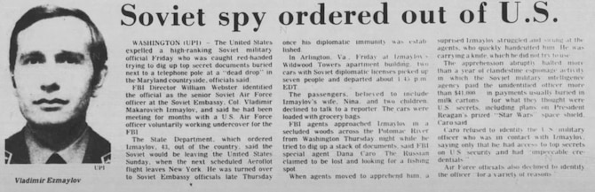 A June 21, 1986, newspaper article depicting Vladimir Izmaylov as the Soviet spy who was ordered to leave the U.S. (The Scranton, Pa. Tribune)