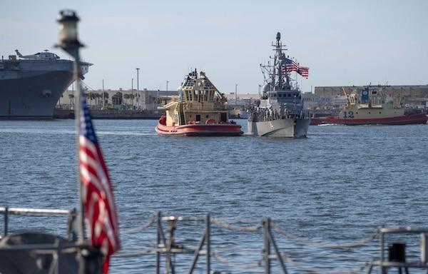 USS Tornado returns to Mayport, Florida, May 13, 2020.