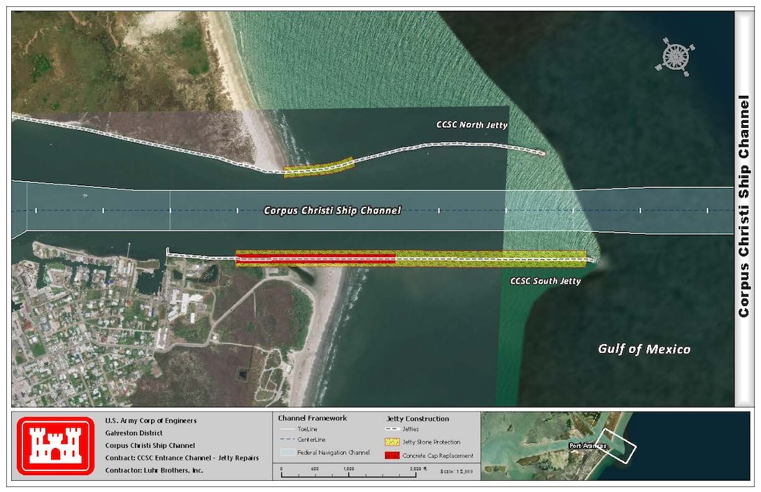 Map of Corpus Christi Ship Channel- Jetty Repairs. The white dotted lines represent the jetties, yellow line represents Jetty Stone Protection, and the red line represents concrete cap replacement. *See legend on the bottom of the map for additional details.