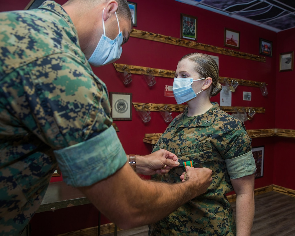 U.S. Marine is awarded a Navy and Marine Corps Achievement Medal at Camp Lejeune, N.C., May 8.