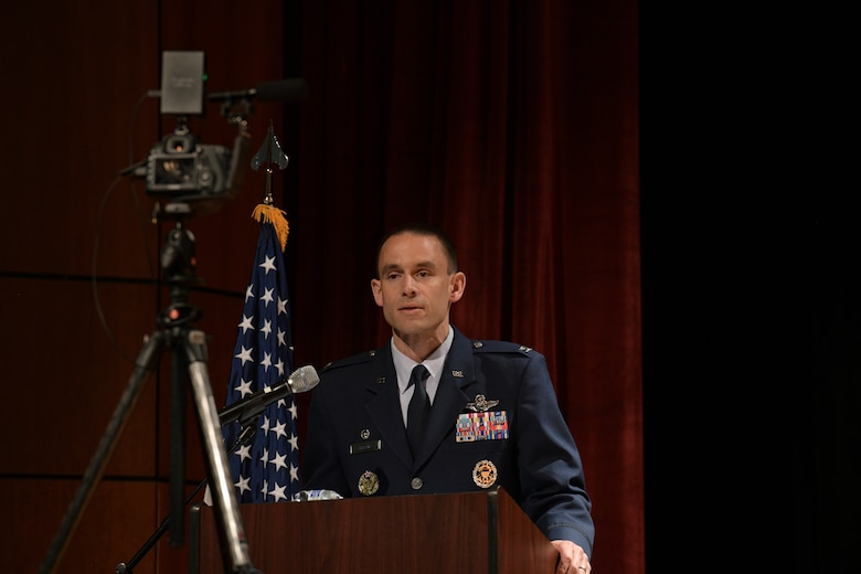 Col. Marc Greene, 628th Air Base Wing and joint base commander, delivers a speech during a change of command ceremony at Joint Base Charleston, S.C., May 13, 2020. Greene is a U.S. Air Force Academy Graduate, class of 2000.He most recently served as the commander of the 305th Operations Group at Joint Base McGuire-Dix-Lakehurst and is a command pilot with more than 3,300 flight hours. (U.S. Air Force photo by Senior Airman Joshua R. Maund)