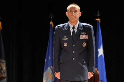 Col. Marc Greene, 628th Air Base Wing and joint base commander, stands at attention during a change of command ceremony at Joint Base Charleston, S.C., May 13, 2020. Greene is a U.S. Air Force Academy Graduate, class of 2000. He most recently served as the commander of the 305th Operations Group at Joint Base McGuire-Dix-Lakehurst and is a command pilot with more than 3,300 flight hours.