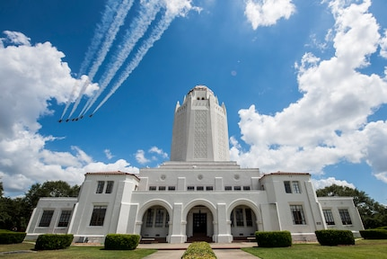 "The United States Air Force Air Demonstration Squadron ""Thunderbirds"" fly over the Taj Mahal at Joint Base San Antonio-Randolph during their America Strong salute May 13."