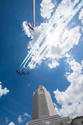 """The United States Air Force Air Demonstration Squadron """"Thunderbirds"""" fly over the Taj Mahal at Joint Base San Antonio-Randolph during their America Strong salute May 13."""