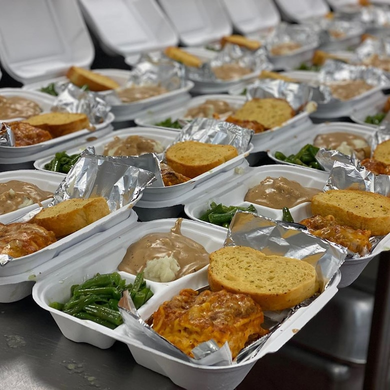 Assembly line of to-go meals