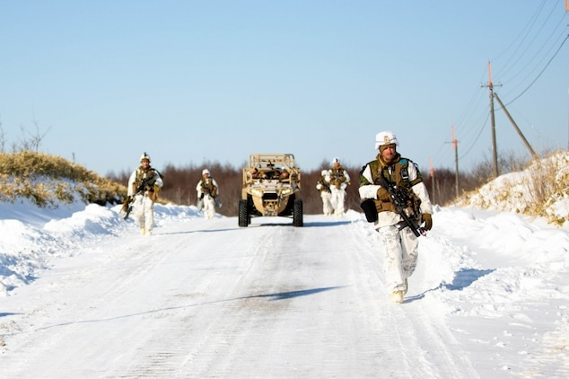 U.S. Marines with 1st Battalion, 25th Marine Regiment, conduct a simulated assault on U.S. Marines from 3rd Law Enforcement Battalion during a force on force training event during exercise Northern Viper on Yausubetsu Training Area, Hokkaido, Japan, Feb. 7, 2020. Northern Viper is a regularly scheduled training exercise that is designed to enhance the collective defense capabilities of the U.S. and Japan Alliance by allowing infantry units to maintain their lethality and proficiency in infantry and combined arms tactics. This iteration of the exercise is executed by units across III Marine Expeditionary Force including an activated reserve unit, 1st Battalion, 25th Marine Regiment, currently attached to 4th Marine Regiment, 3rd Marine Division, as part of the unit deployment program. (U.S. Marine Corps photo by Lance Cpl. Jackson Dukes)