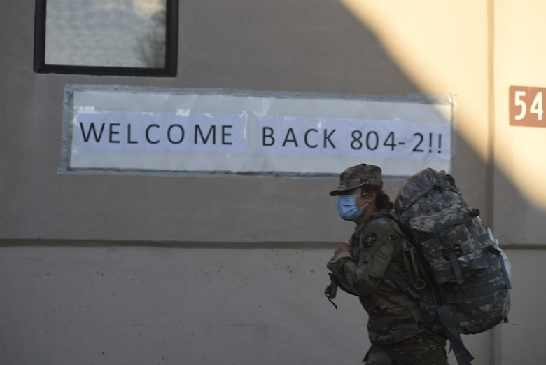 An Urban Augmentation Medical Task Force 804-2 Soldier returns to Joint Base McGuire-Dix-Lakehurst, N.J., May 4, 2020. The U.S. Northern Command, through U.S. Army North, remains committed to providing flexible Department of Defense support to the Federal Emergency Management Agency for the whole-of-nation COVID-19 response. (U.S. Air Force photo by 1st Lt. Katie Mueller)