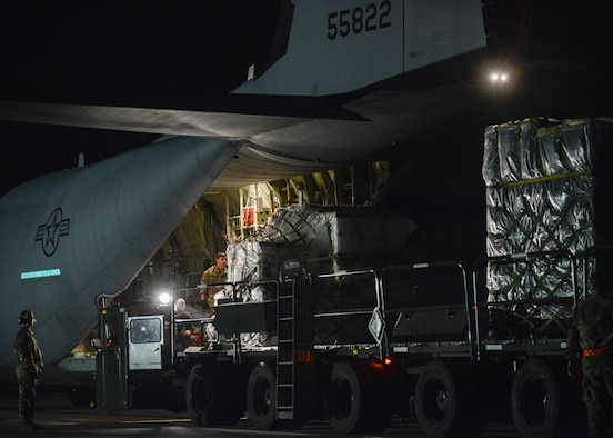 A C-130 Hercules stationed out of Ramstein Air Base, Germany delivers pallets of medical equipment to Aviano Air Base, Italy, March 20, 2020.