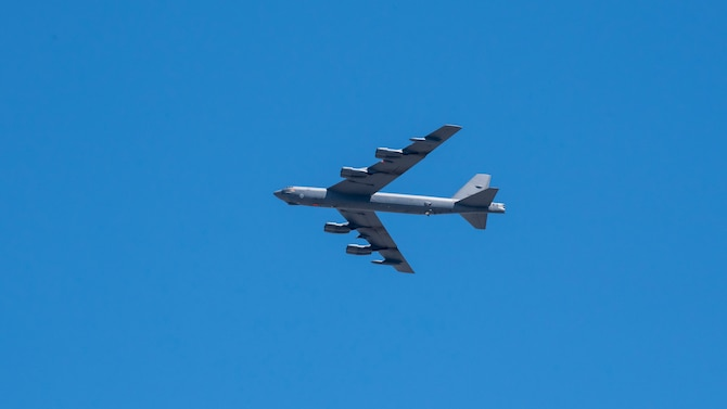 A B52 Stratofortress from the 412th Test Wing out of Edwards Air Force Base, California, flies over the Antelope Valley communities of Lancaster and Palmdale in northern Los Angeles County, May 14. The flyover is in honor of, and to show gratitude to the front-line health care workers helping fight the COVID-19 pandemic in the Antelope Valley, also referred to as the Aerospace Valley. (Air Force photo by Giancarlo Casem)