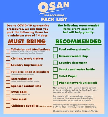 Osan quarantine packing list. (U.S. Air Force graphic by Staff Sgt. Benjamin Bugenig)