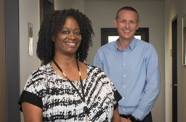 Mariah Boykin and Jeffrey Bright, 86th Medical Operations Squadron Family Advocacy Program intervention specialists, are facilitators for online classes that help families adapt to the coronavirus disease 2019 environment at Ramstein Air Base, Germany, May 13, 2020.
