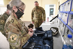 U.S. Air Force Lt. Col. Rachel Mallette, Chief Nurse with the 145th Aeromedical Evacuation Squadron conducts an inventory of medical supplies while conducting medical drills prior to accepting live patients, at the North Carolina National Guard Medical Support Shelter (MSS), Central North Carolina, April 29, 2020. The MSS is intended to act as an overflow shelter for hospital patients not infected with the COVID-19 virus and is maned by a joint task force of Army and Airforce National Guard medical staff.