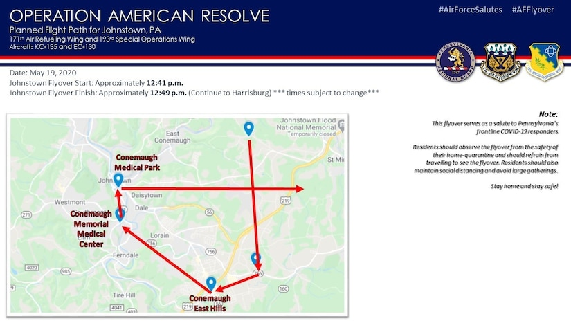 The Pennsylvania Air National Guard will present an aircraft flyover in the  Johnstown area Tuesday, May 19, as part of Operation American Resolve, a nationwide salute to all those supporting COVID-19 response efforts. (U.S. Air National Guard courtesy photo)