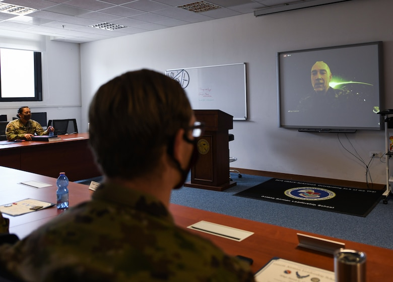 Chief Master Sgt. Roger A. Towberman, Senior Enlisted Advisor of the U.S. Space Force talks to Airmen during a virtual Airman Leadership School graduation at Aviano Air Base, Italy, May 15, 2020. USSPACECOM is responsible for deterring conflict, defending U.S. and Allied freedom of action in space, delivering combat-relevant space capability to the joint/combined force, and developing joint warfighters to advance U.S. and Allied interests in, through and from the space domain. (U.S. Air Force photo by Airman 1st Class Ericka A. Woolever)