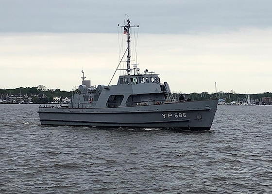 The Navy recently completed a Service Life Extension Program (SLEP) on Yard Patrol 686 and returned the modernized craft to the U.S. Naval Academy (USNA), May 14. The SLEP for the vessel began in August 2019 and was executed in partnership with the U.S. Coast Guard at their Curtis Bay shipyard in Baltimore, Maryland.