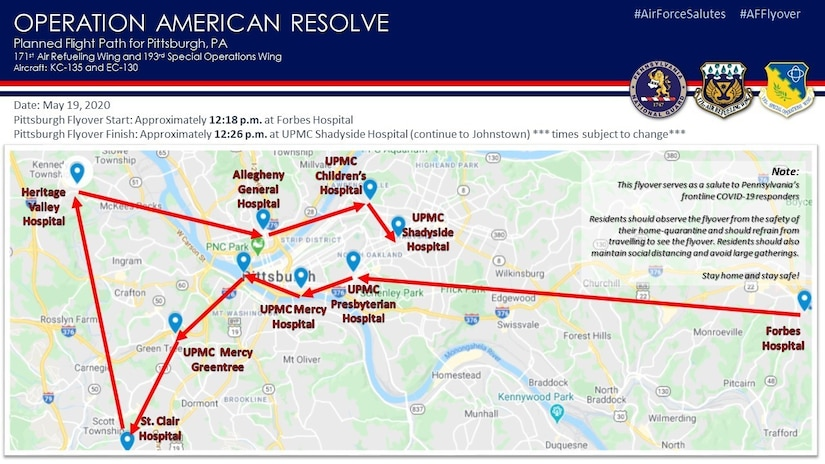 The Pennsylvania Air National Guard will present an aircraft flyover in the Pittsburgh area Tuesday, May 19, as part of Operation American Resolve, a nationwide salute to all those supporting COVID-19 response efforts. (U.S. Air National Guard courtesy photo)