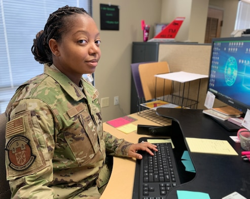 Master Sgt. Randi Ross, 926th Wing Yellow Ribbon Reintegration Program coordinator, works to ensure all 926th Wing deployed members and their families have a chance to attend a YRRP event, May 14, 2020, Nellis Air Force Base, Nevada.